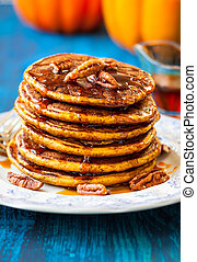 Pumpkin pancakes - Spiced Pumpkin pancakes with maple syrup...