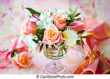bunch of flowers - Festive table  with bunch of flowers
