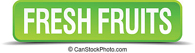 fresh fruits green 3d realistic square isolated button