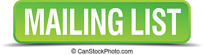 mailing list green 3d realistic square isolated button