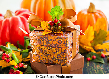 Gift box for autumn holiday