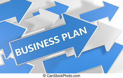 Business Plan 3d render concept with blue and white arrows...