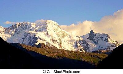 Switzerland snow mountain at sunset