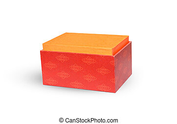 Opened red Christmas gift box on a white background.