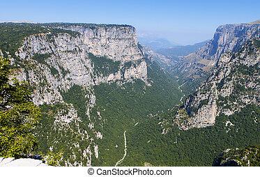Vikos gorge in Greece - Vikos gorge of Pindos mountains at...