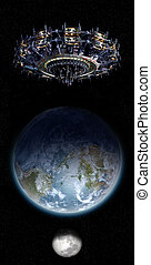 UFO nearing Earth with copy space - Alien mothership UFO...