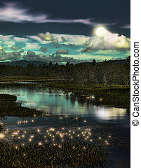forest and fireflies - depiction of a forest stream with...
