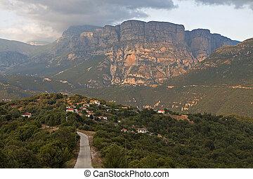 Zagora area landscape in Greece - Traditional village of...