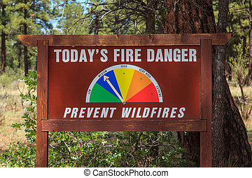 Forest Fire Danger Sign Kaibab National Forest Tusayan,...
