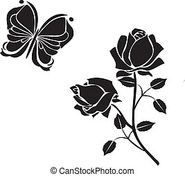 roses and butterflies black vectors