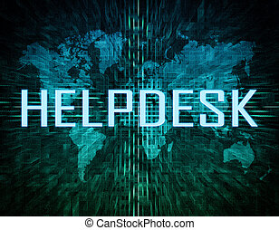 Helpdesk text concept on green digital world map background