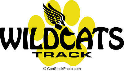 wildcats track design with track foot and paw print