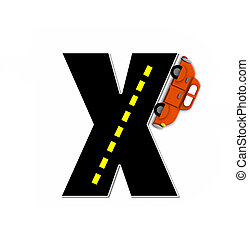 Alphabet Transportation by Road X - The letter X, in the...