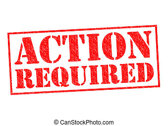 ACTION REQUIRED red Rubber Stamp over a white background
