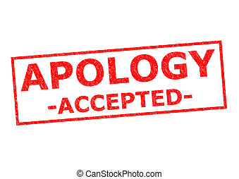 APOLOGY ACCEPTED red Rubber Stamp ver a white background