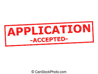 APPLICATION ACCEPTED red Rubber Stamp over a white...