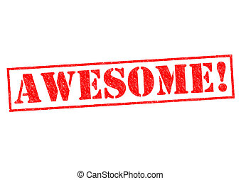 AWESOME! red Rubber Stamp over a white background.
