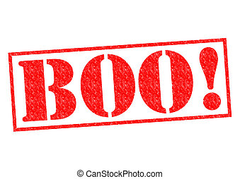 BOO! red Rubber Stamp over a white background.