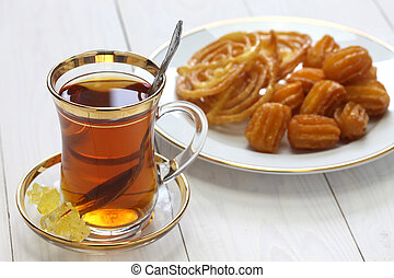 iranian tea and sweets, zoolbia & bamieh