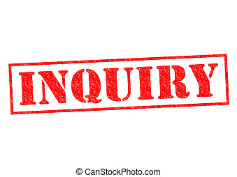 INQUIRY red Rubber Stamp over a white background