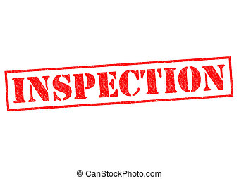 INSPECTION red Rubber Stamp over a white background