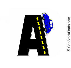 Alphabet Transportation by Road A - The letter A, in the...
