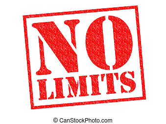 NO LIMITS red Rubber Stamp over a white background.