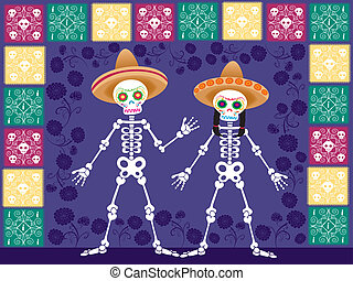 two sugar skull in the nigth - Is a EPS Illustrator file