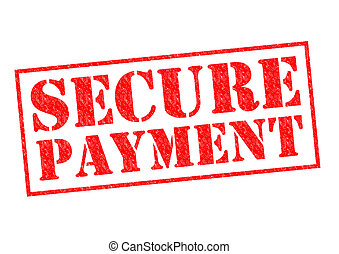SECURE PAYMENT red Rubber Stamp over a white background