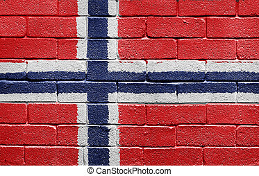 Flag of Norway on brick wall