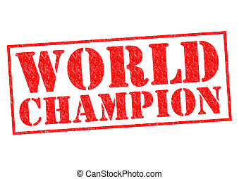 WORLD CHAMPION red Rubber Stamp over a white background