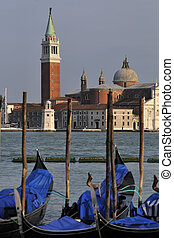 Venice Maggiore and gondolas late afternoon.
