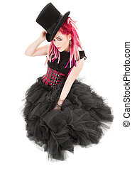 top hat - picture of bizarre pink hair girl with top hat