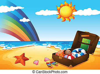 A beach under the sky with a rainbow and a bright sun