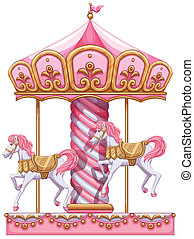 A carousel ride - Illustration of a carousel ride on a white...