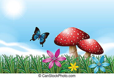 A butterfly near the red mushrooms - Illustration of a...
