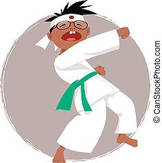 Karate kid - Black boy in glasses doing karate, vector...