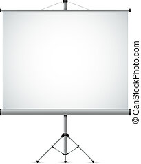 Blank white projection screen vector template