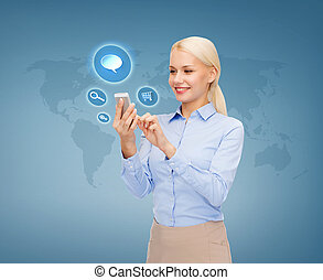 businesswoman with smartphone over blue background -...