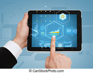 close up of man hands touching tablet pc - business,...