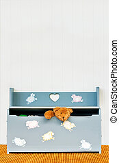 Toy Chest - Teddy bear poking his head out of a child\'s toy...