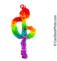 treble clef made of colorful rainbow loom rubber bands -...