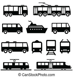 Public transportation icon set - Bus, ship, train public...