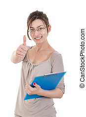 friendly confident businesswoman writing with her organizer or n