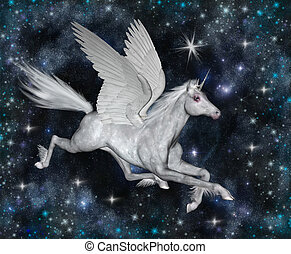 Pegasus - Winged horse Pegasus soars through the galaxy...
