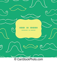 Line art mustaches frame seamless pattern background