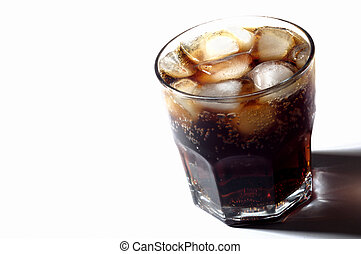 glass of soda with ice on white background