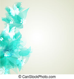 Bright background with light blue abstract flowers