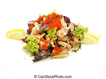 shrimp salad with vegetables and eggs on a white background