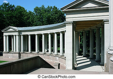 Colonnade in architectural complex in Moscow, Russia
